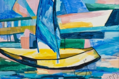 """Sailboat"", 2005, canvas/oil, 84x78"