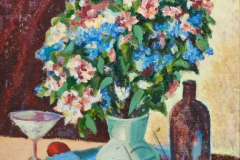 """Still life with a pomegranate"", 2010, cardboard/oil, 49x38"