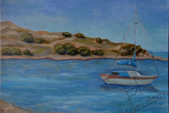 """Haraki. Noon on the sea"", June 2014, cardboard/oil, 30x40"