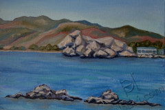 """Haraki. View of the reefs"", June 2014, cardboard/oil, 30x40"