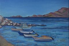 """""""Haraki. Boats"""", June 2014, cardboard/oil, 30x40"""