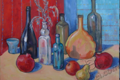 """""""Still Life with Bottles and Fruits"""", 2014, canvas/oil, 40x50"""