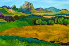 """The view through the window of the train"", 2019, canvas/oil, 60х80cm"