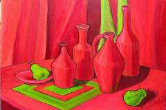 """Still-life in red shades"""", 2018, canvas/oil, 40х50cm"""
