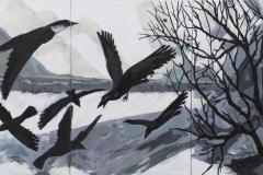"Black birds"", 2019, canvas/acrylic, 210х100cm ( 3* 100x70)"
