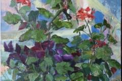 """Geranium"", August 2013, canvas/oil, 50x40"