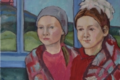 """The girls from Ishkul"", August 2013, cardboard/oil, 30x40"
