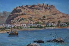 """Haraki. Feraklos Castle"", June 2014, cardboard/oil, 30x40"