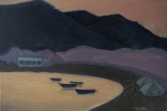 """Haraki. Sunset on the beach"", July 2014, cardboard/oil, 30x40"