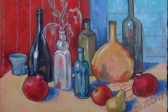 """Still Life with Bottles and Fruits"", 2014, canvas/oil, 40x50"